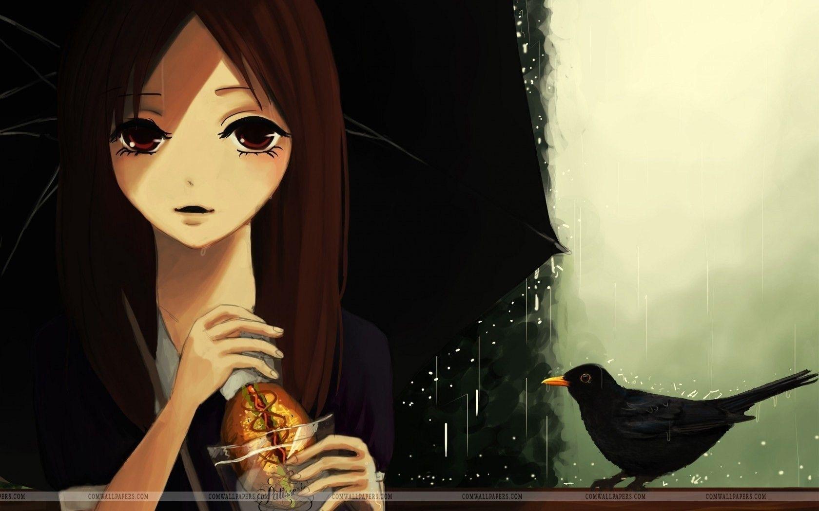 Art Girl Umbrella Rain Bird Wallpaper Art HD Wallpapers