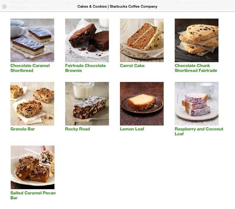 Starbucks Cakes and Cookies Menu 2 | Caramel pecan, Hot ...