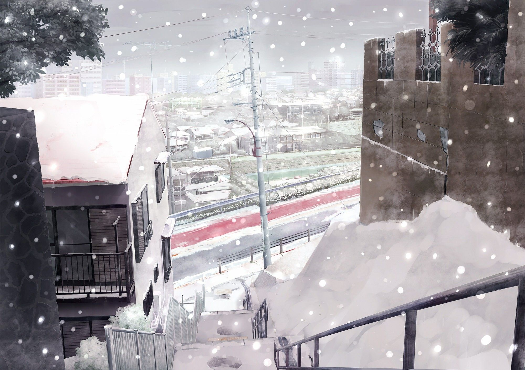 city, cityscape, stairs, winter, anime, snow