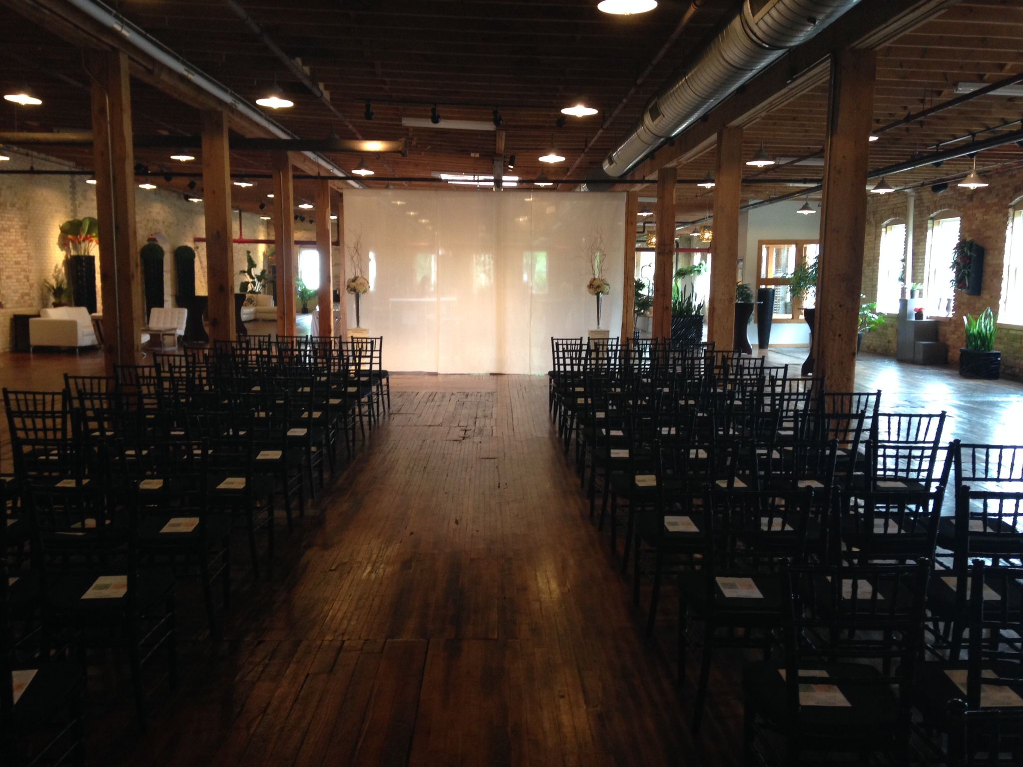 A wedding Ceremony set up for a wedding at The Goei Center.