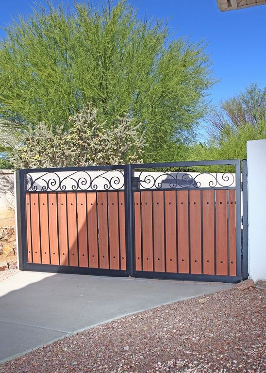 Wood And Iron Double Driveway Gate Wood Gate Door Gate Design