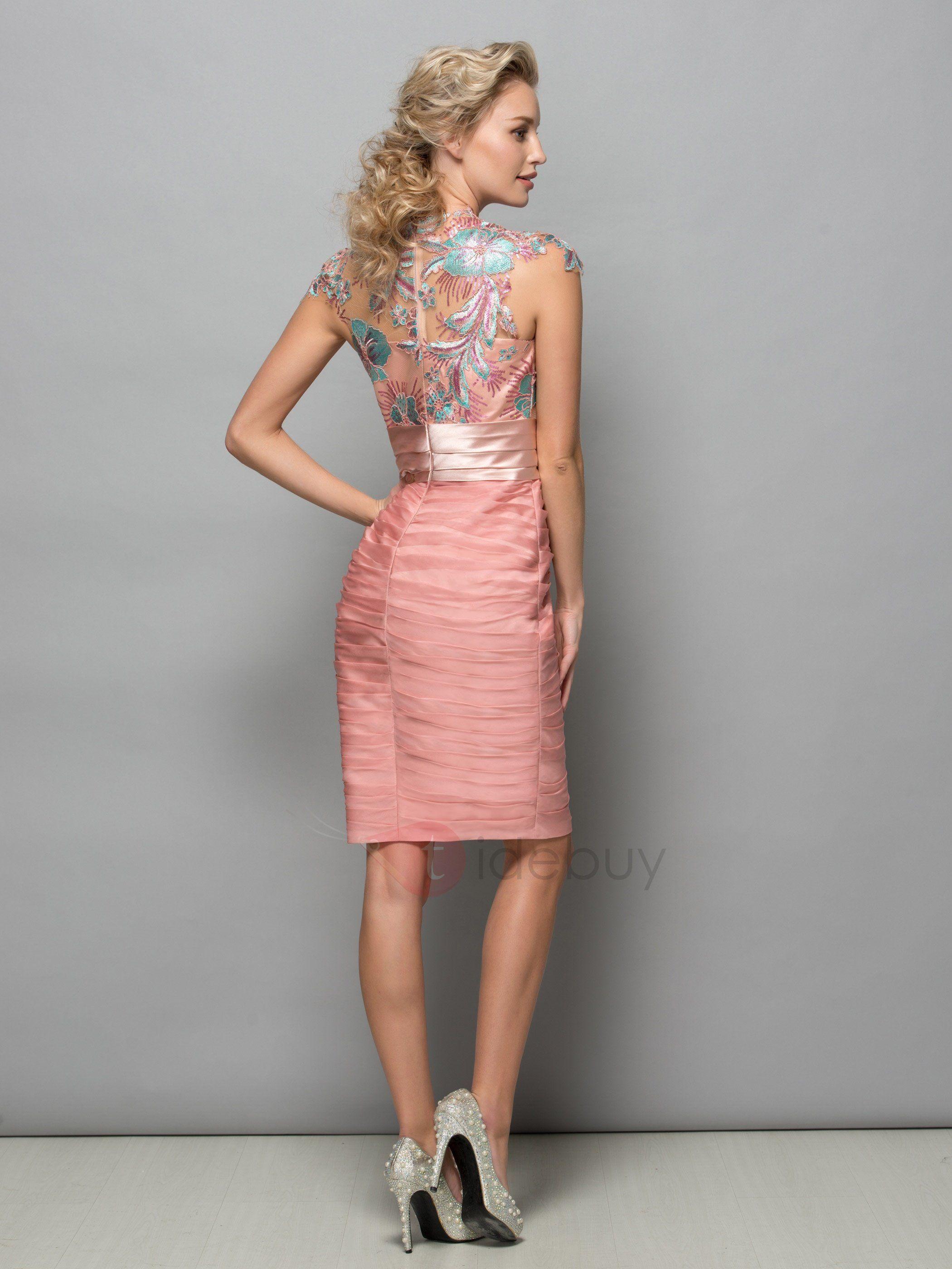 Vestido de Cóctel con Diseño de Encaje y Flores Bordados (Envío ...