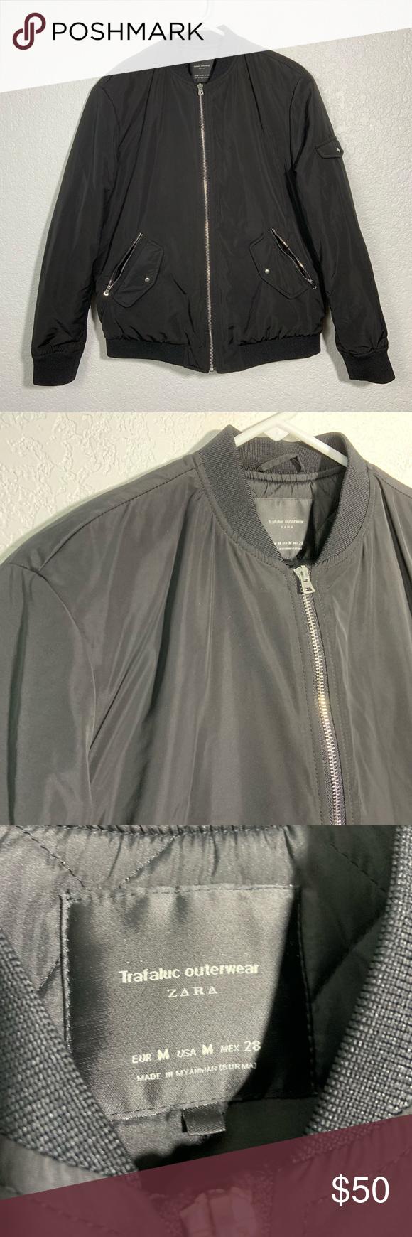 Zara Trafaluc Outerwear Black Bomber Jacket Medium Black Bomber Jacket Fashion Clothes Design [ 1740 x 580 Pixel ]
