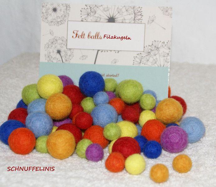 Filzperlen - Filzkugeln 4 Grössen 1cm-2,5cm 100Stk. Regenbogen - ein Designerstück von Schnuffelinis bei DaWanda