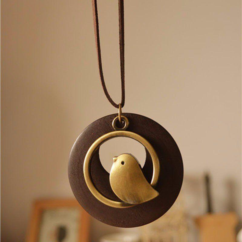 Wooden Bead bird pendant Long necklace