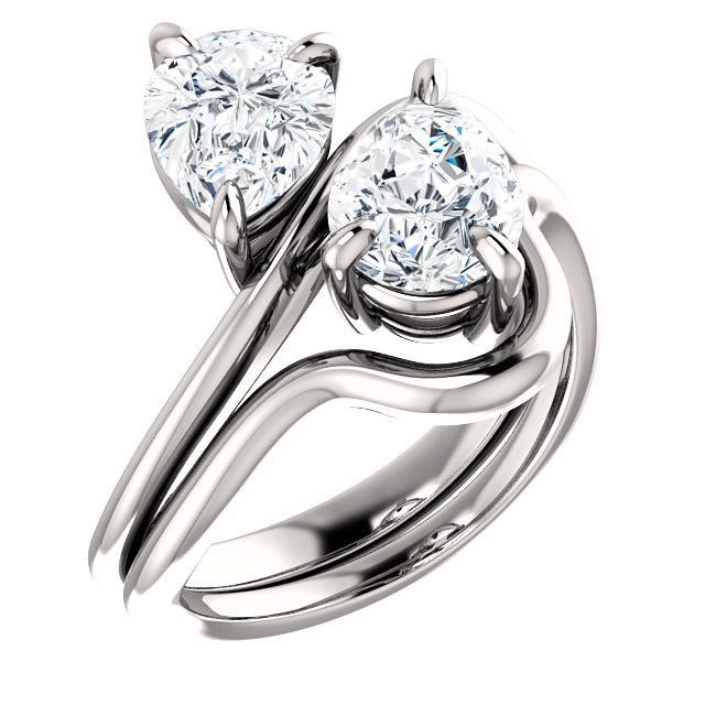 Diamond Engagement Rings : 2.0 Ct Pear Diamond Engagement Ring 14k White Gold Goldia.com