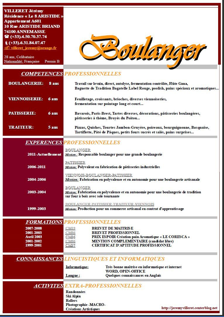 Modele Cv Boulanger Exemple Cv Cv Gratuit Vendeuse En Boulangerie