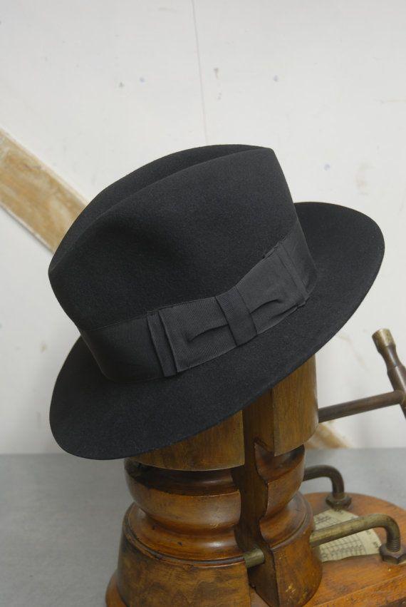 a37eaee800a2b4 Vintage 40's WW2 Black European German/Austrian Felt Fedora Trilby Hat EU 55  UK 6