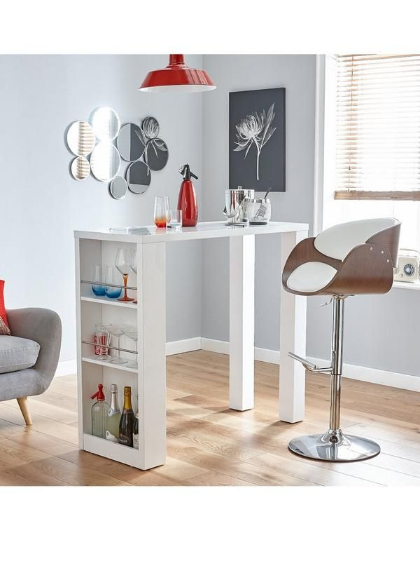 Echo Bar Table with Storage Shelves in Black or White. Dimensions  Height  107 b206f8aecd