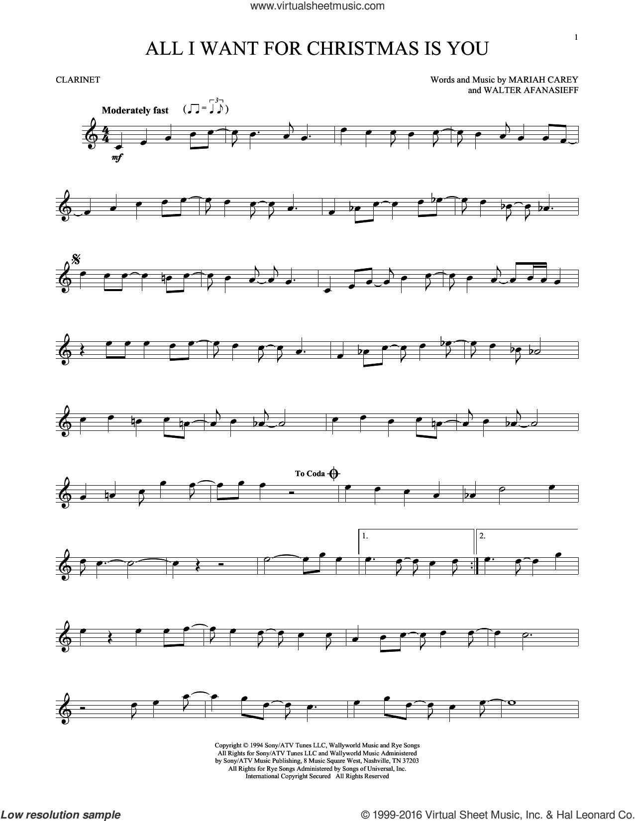 Carey All I Want For Christmas Is You Sheet Music For Clarinet Solo Clarinet Sheet Music Saxophone Sheet Music Cello Sheet Music