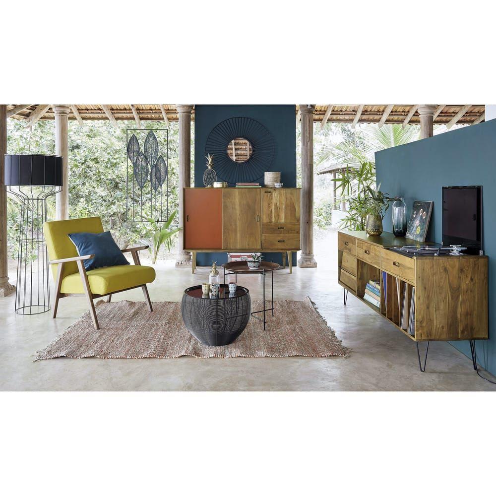 Solid Acacia Record Cabinet En 2020 Mobilier De Salon Meuble Vinyle Buffet Meuble