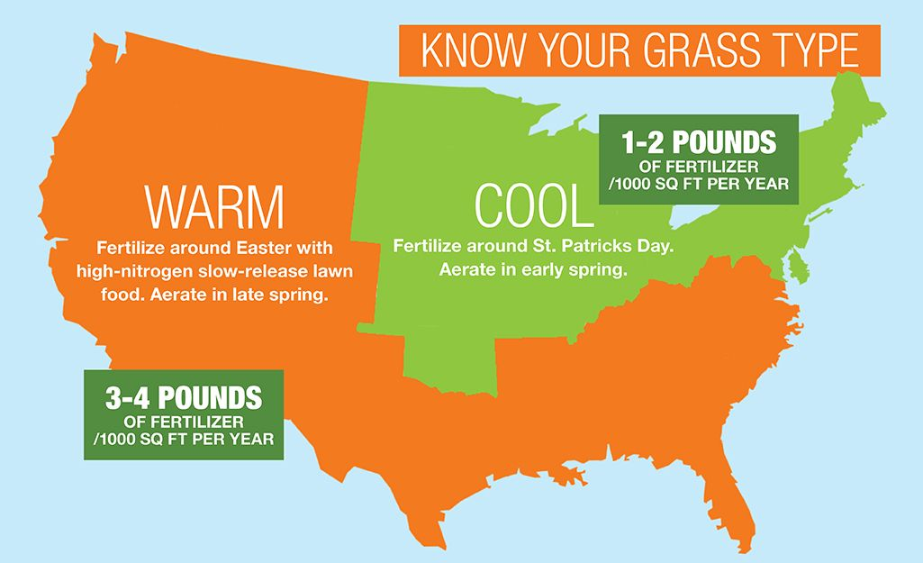 A Map Graphic Shows How To Fertilize In Warm Vs Cool Regions Of The United States Lawn Fertilizer Fertilizer Warm Season Grass