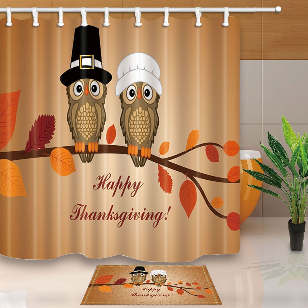 Thanksgiving happy owl couple shower curtain bathroom fabric