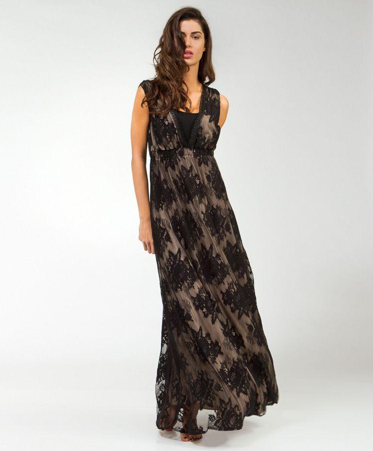 5895344f564 Φόρεμα μάξι μαύρη δαντέλα | Φορέματα | Dresses | Δαντέλα, Φορέματα ...