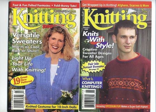 Knitting Digest Magazine March 2001  & Jan 2002 Pre-Owned Really Good Condition #KnittingDigest #Backissues #Knittingpatterns