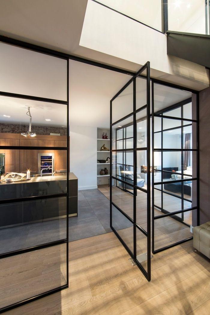 ▷ 1001 + idées pour la cuisine ouverte avec verrière Salons - Cuisine Moderne Avec Ilot