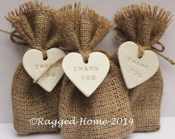 10 X Hessian Bags Thank You Love Heart Tags For Wedding Favours And Gifts On