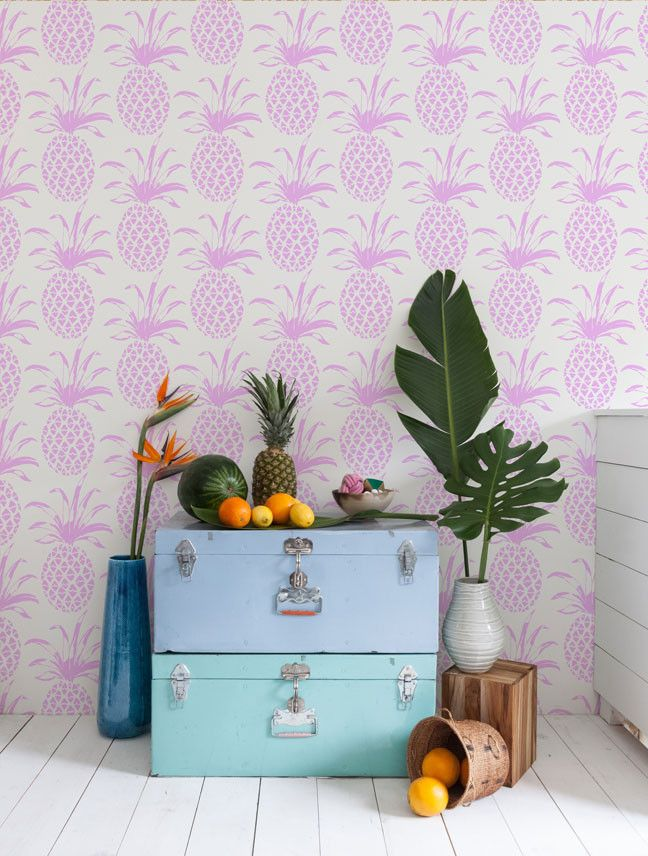 Incorporating The Tropiclal Trend Into Your Interior Featuring Pina Sola Wallpaper By Aimee Wilder In Sola O Pineapple Wallpaper Tropical Print Wallpaper Decor