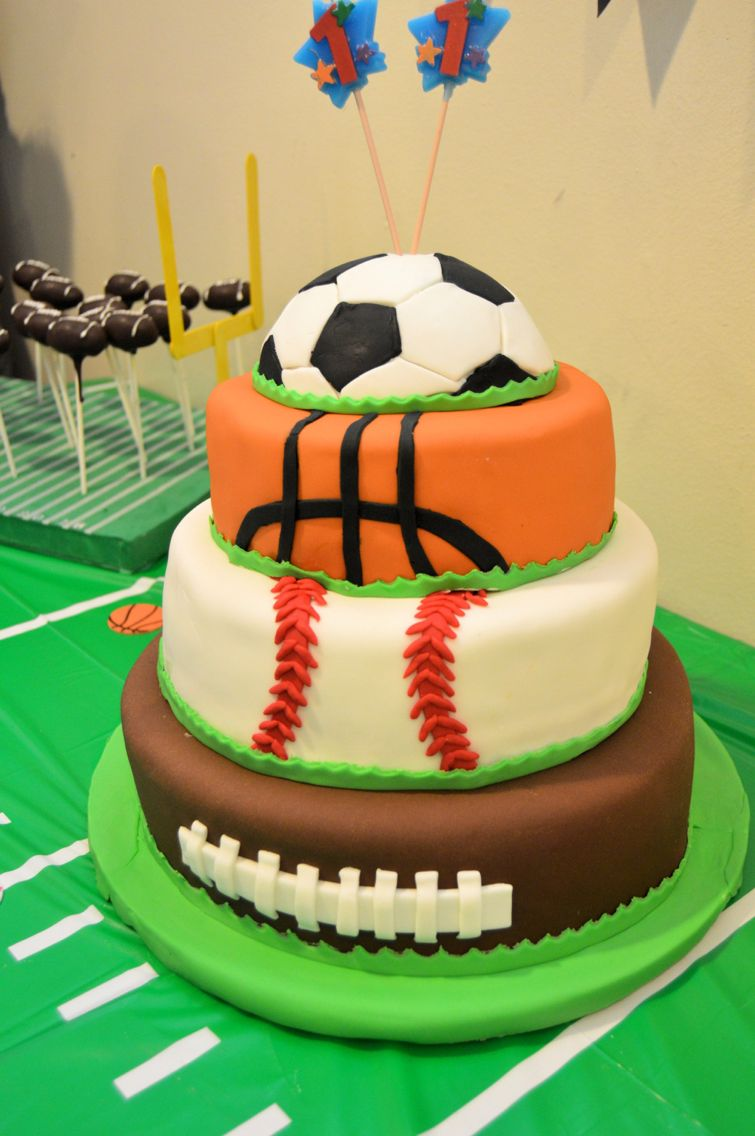 All sports cake All sports birthday party Pinterest Cake