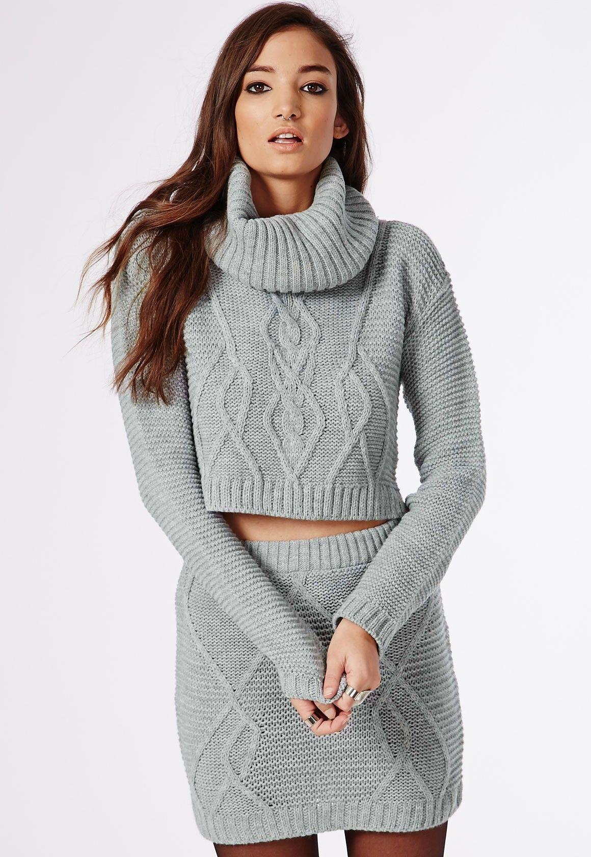 Aliya Roll Neck Cable Knit Crop Jumper Grey - Knitwear ...