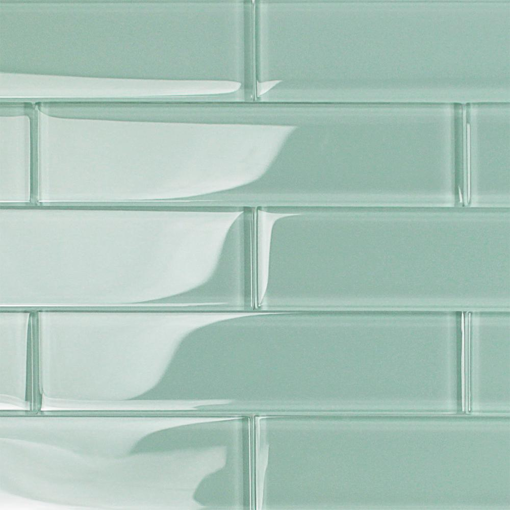 Ivy Hill Tile Contempo Light Green 2 In X 8 In X 8mm Polished Glass Floor And Wall Tile 1 Sq Ft Ext3rd100912 The Home Depot In 2020 Glass Subway Tile