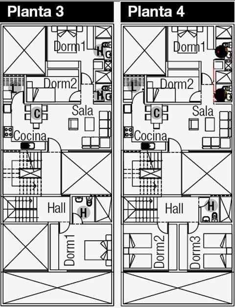 planos de departamentos y negocio en el primer piso en