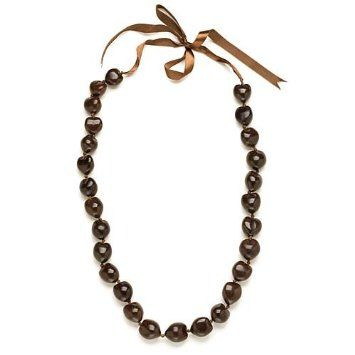 I love these chunky brown bead necklaces!