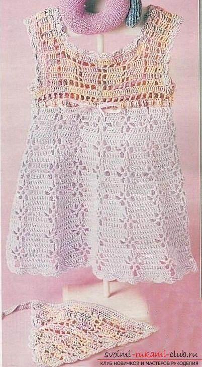 Как связать красивое платье и бандану для девочки до года ...