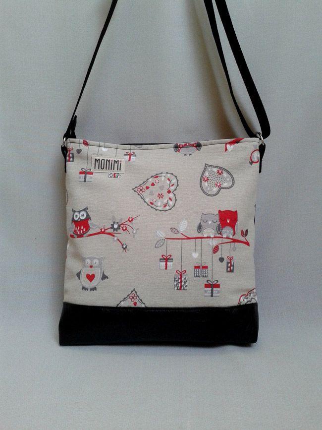 Daily-bag 07 női táska Piros  bagoly mintás vászon és fekete textilbőr  kombinációjával készült c60ba0d10e