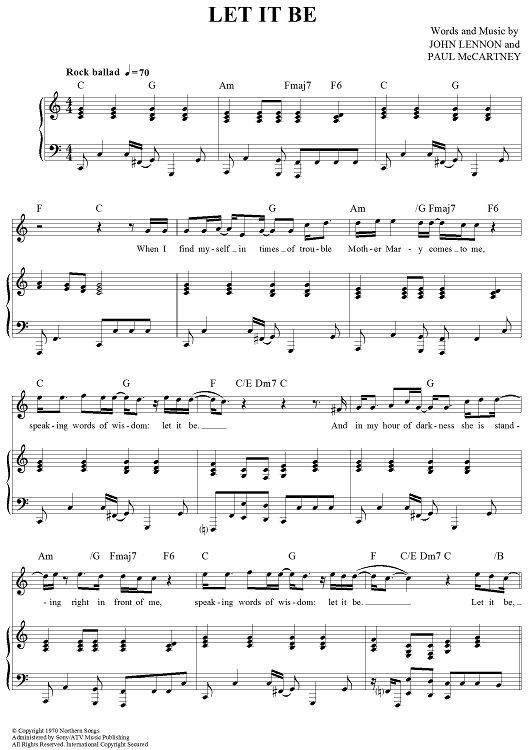 Let It Be Piano Sheet Music Free Guitar Sheet Music Piano