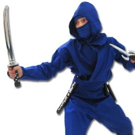 This is an authentic blue ninja uniform that is built to last. - Not cheap costume material. This blue kids ninja uniform comes with one of our coolest playsets and is one of our best costumes! It's more than just any childrens Halloween outfit because the ninja gi is built to be worn in martial arts classes. If your kids tear this thing, they deserve some kind of award. Product Highlights: Includes an authentic ninja uniform, not a costume. Includes jacket, pants, arm gauntlets, mask, an…
