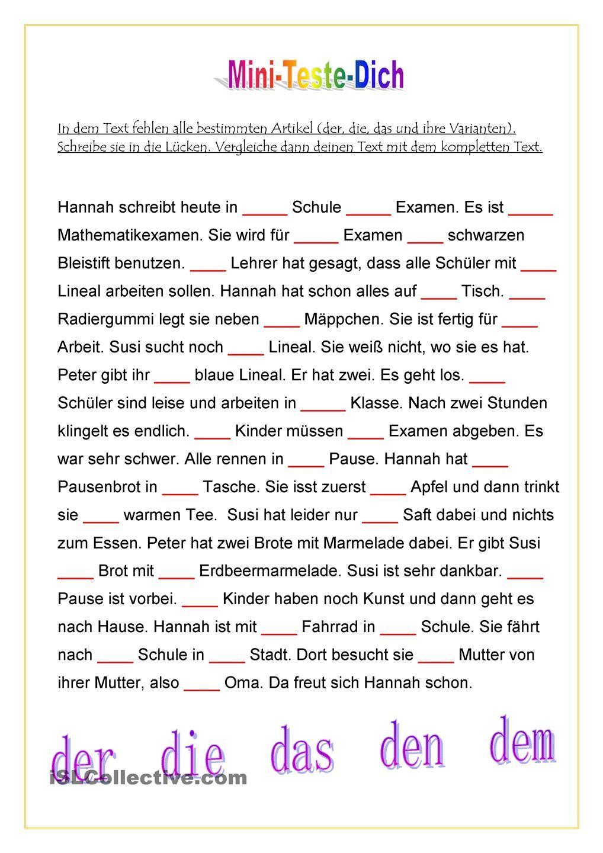Mini-Teste-Dich: Bestimmter Artikel im Text | Deutsch | Pinterest ...