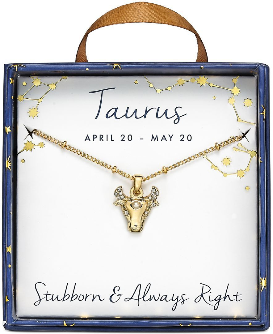Macyus taurus goldtone crystal and fauxpearl zodiac pendant