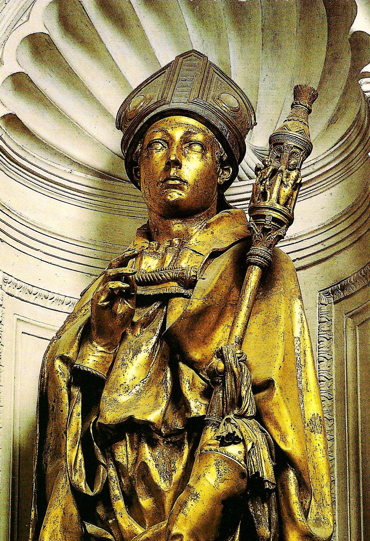 Statue in bronze of St. Ludwig of Toulouse (S. Ludovico di Tolosa) (1424) by Donatello. Museo di Santa Croce, Florence.