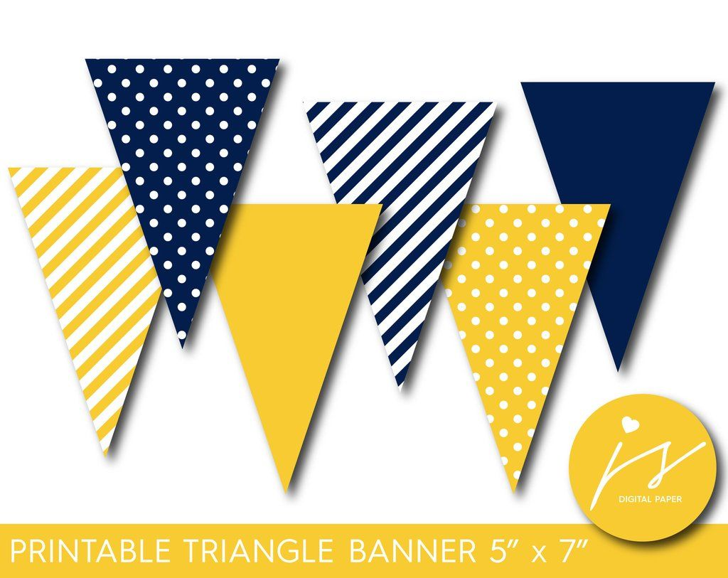 Yellow and navy blue pennant banner with polka dots and stripes pb