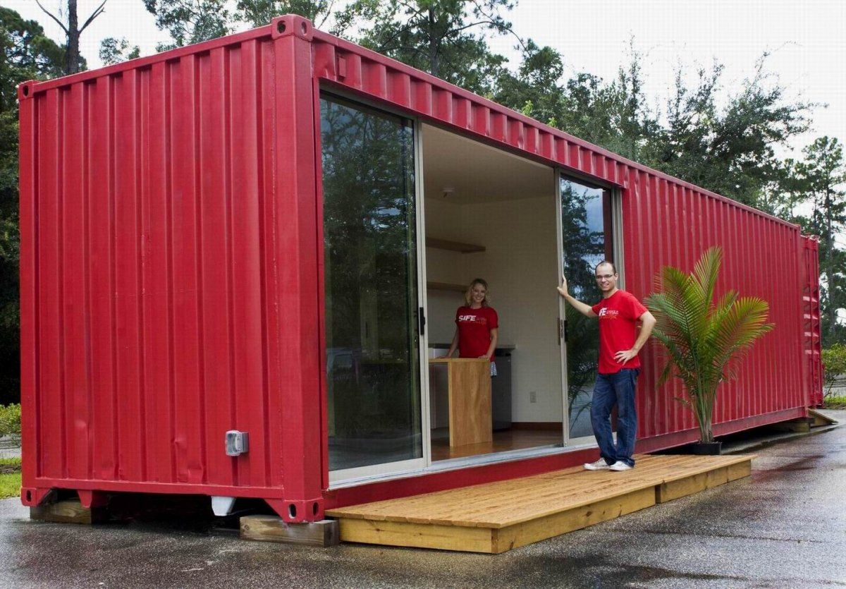 Simple Modular Shipping Containers Homes With Red Wall Exterior Design, 30  Architecture U0026 Interior Designs