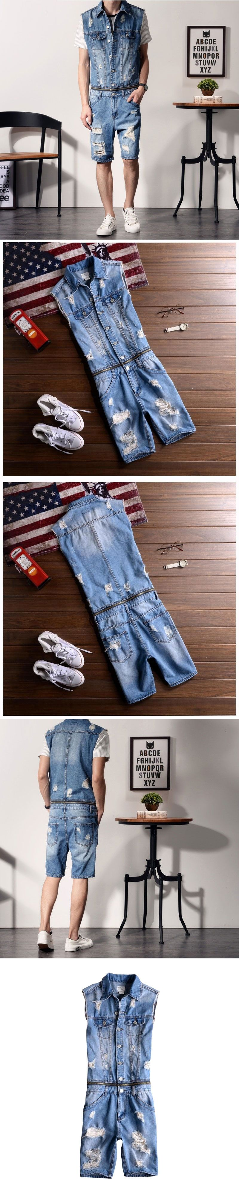 dc149a27aa 2017 New Men s No Sleeve Denim Overalls Casual Shorts Jeans Jumpsuits For  Men With Holes Short