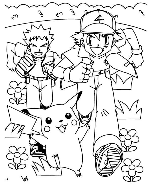 Ash Ketchum And Pika Running Following By Brock On Pokemon Coloring Page Coloring Sky Pokemon Coloring Pages Pokemon Coloring Coloring Pages