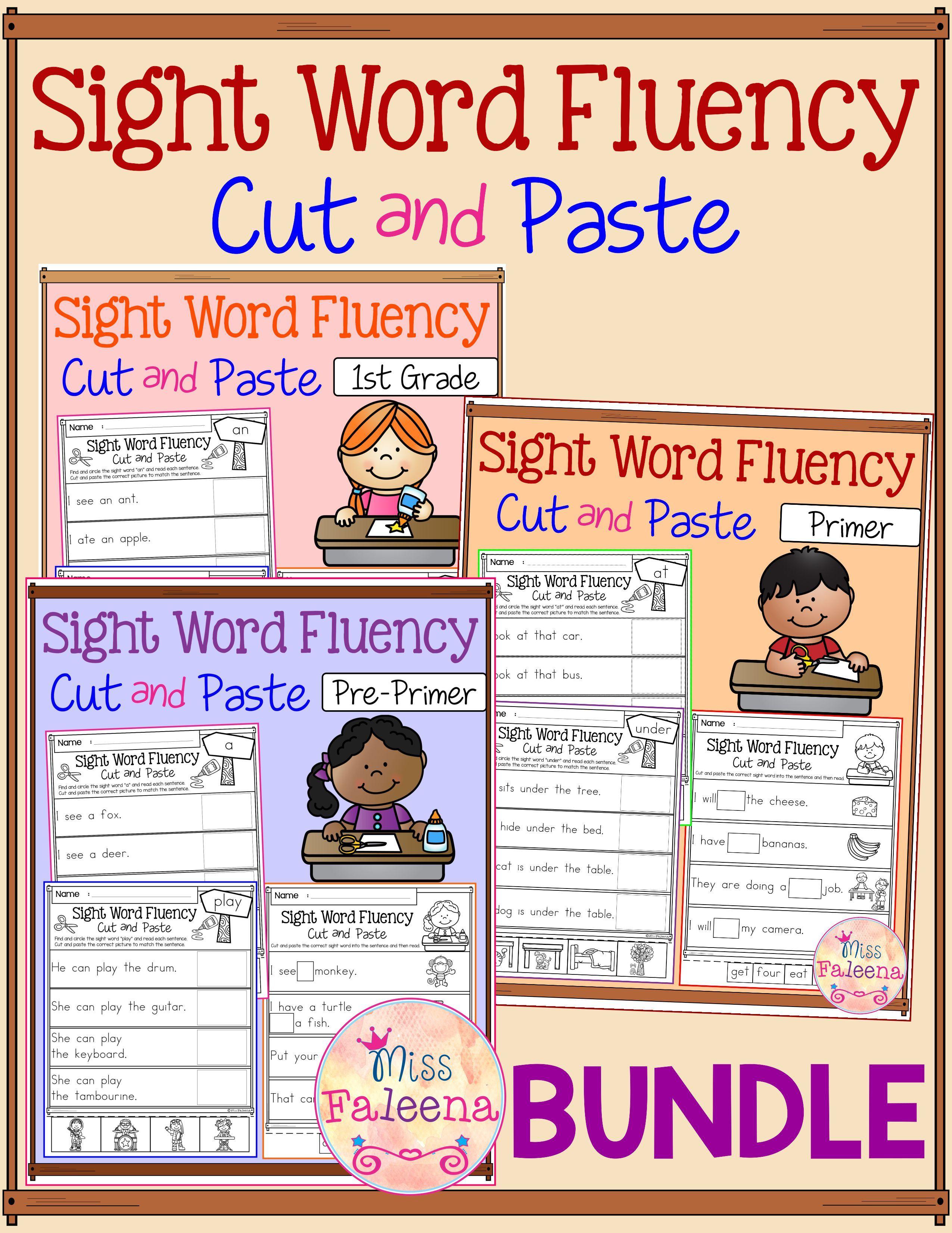 sight word fluency cut and paste the bundle pinterest pre primer