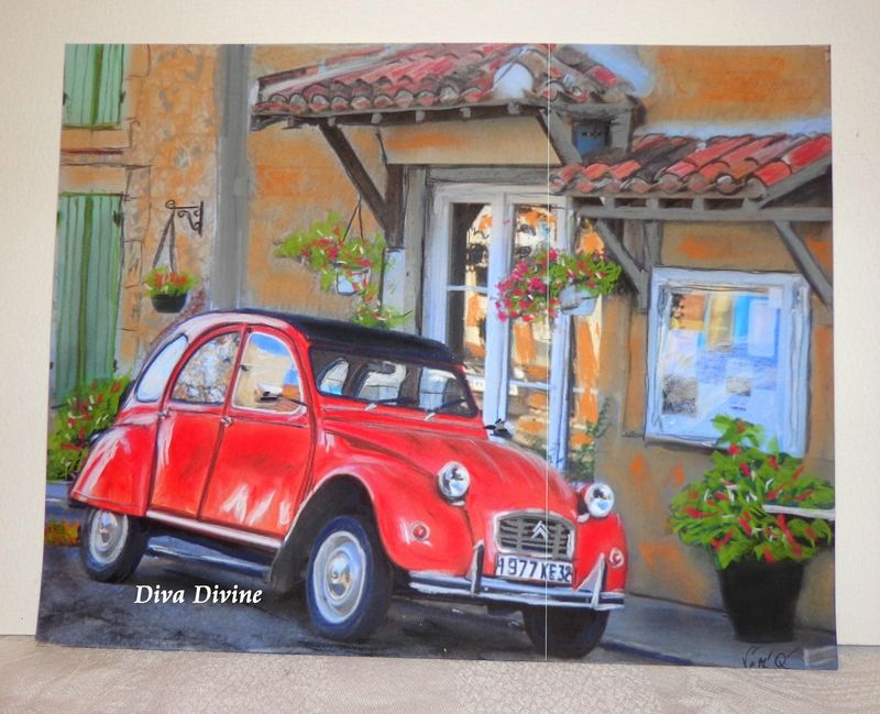 peinture pastel sec pour tableau r tro vintage voiture 2 cv la p 39 tite deudeuche peint a la. Black Bedroom Furniture Sets. Home Design Ideas