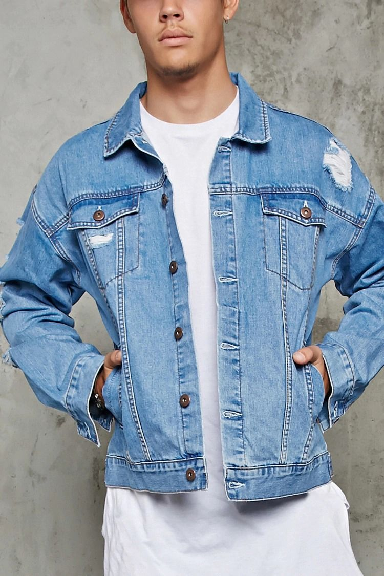 A Lightweight Denim Jacket With Distressing Throughout A Buttoned Front A Basic Collar Butto Mens Fashion Denim Distressed Denim Jacket Denim Jacket Fashion [ 1125 x 750 Pixel ]