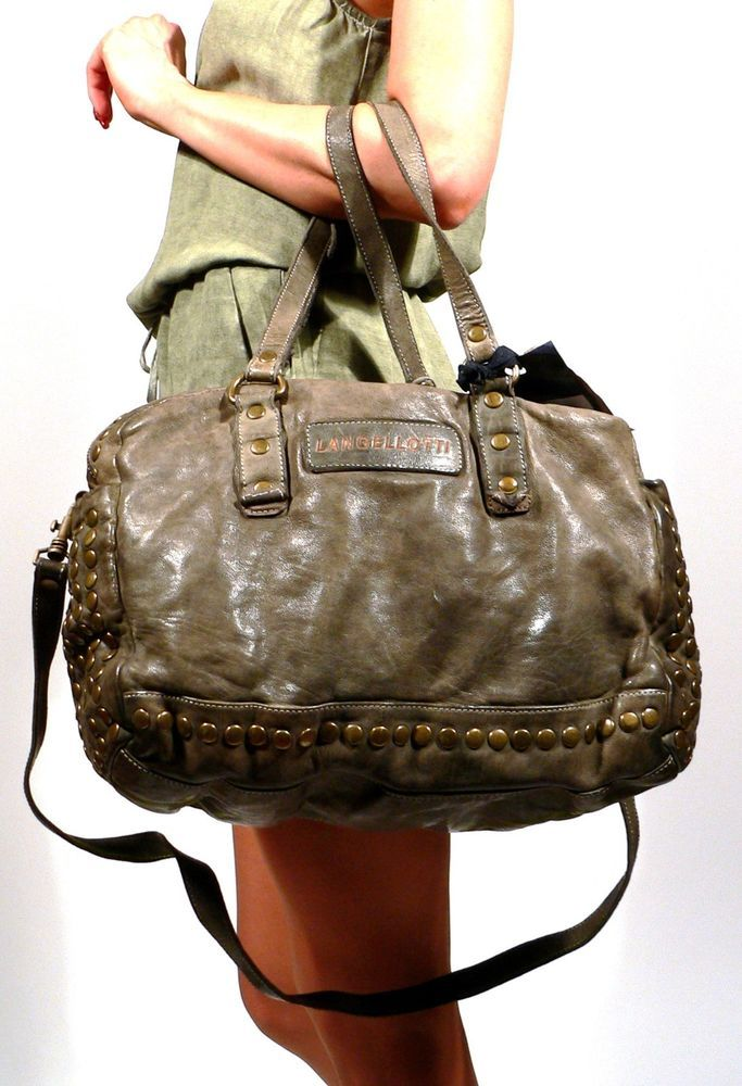 New LANGELLOTTI Italy Distressed Vintage Olive Green Leather ...