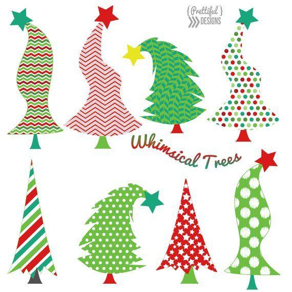 Whimsical Christmas Trees Ideas: Christmas Whimsical Trees Clip Art