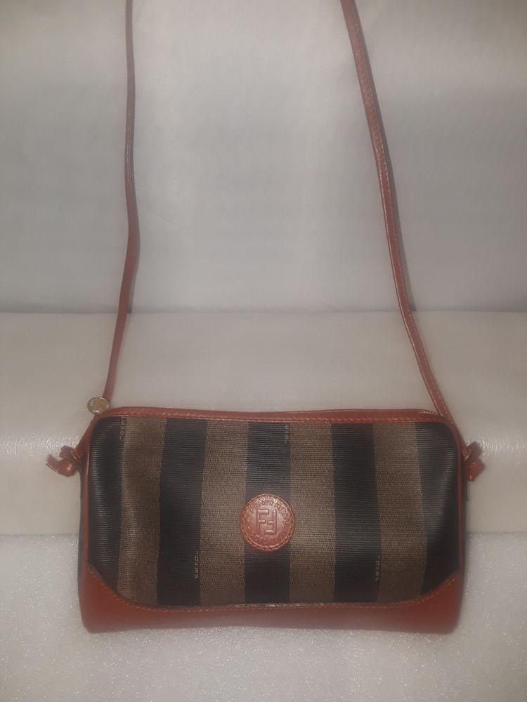 Vintage Fendi Striped Canvas Shoulder Crossbody Bag Brown Canvas  fashion   clothing  shoes   37e0230043bfd