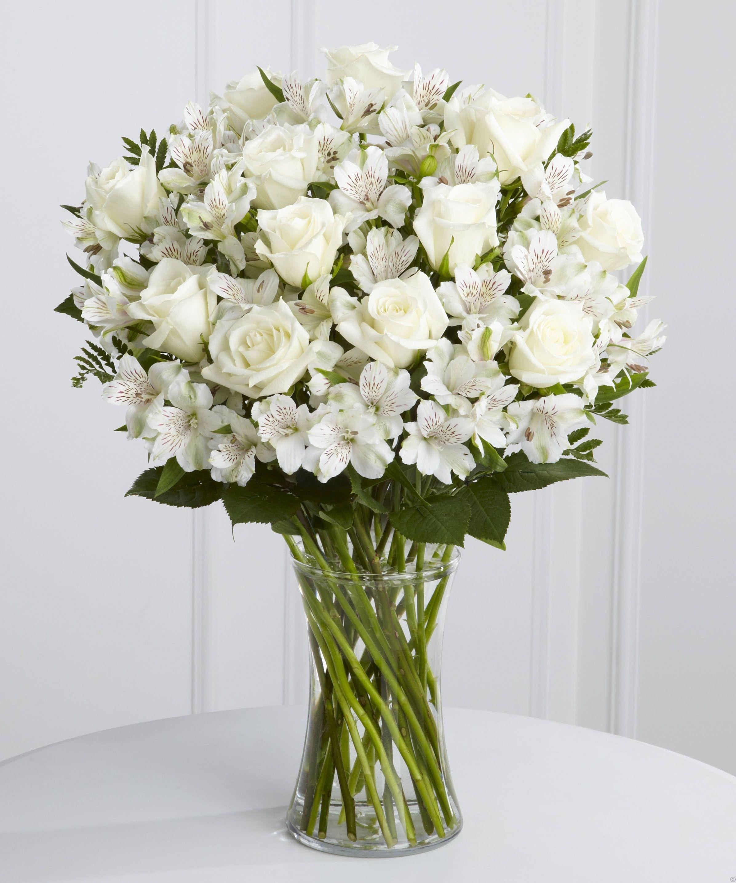 White Rose and Alstroemeria Vase Funeral flower