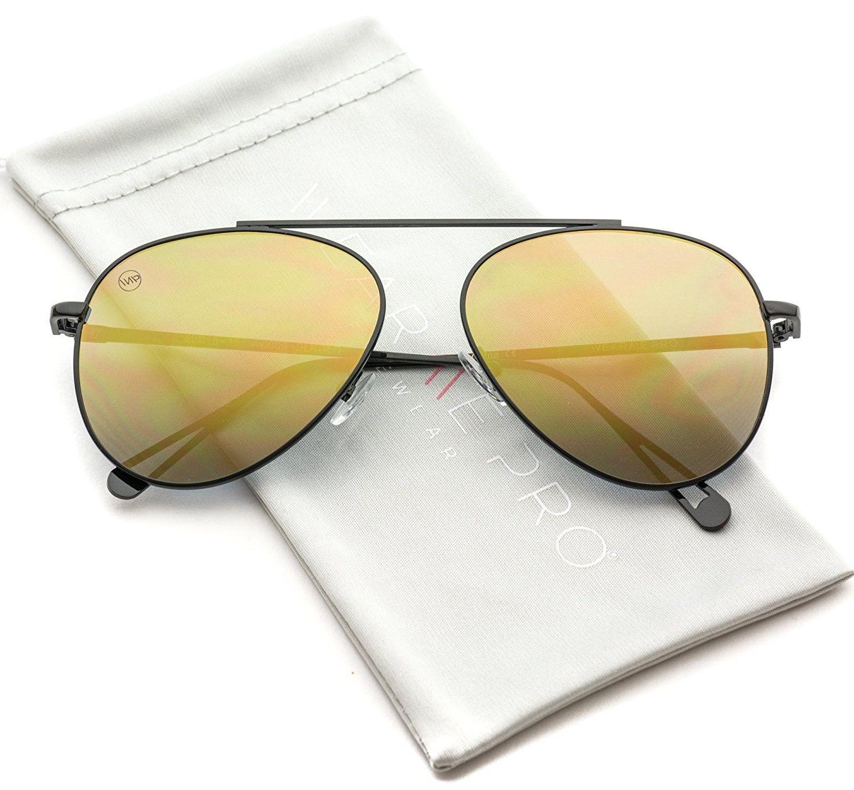 1340fbfe74 Top Wire Bridgeless Bar Modern Aviator Pilot Style Sunglasses - Black Frame Gold  Flashing Lens - CQ184XLNHI3-Men s Sunglasses