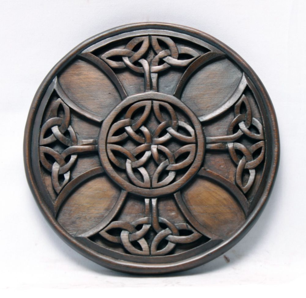 Fine Round Carved Architectural Ornamentation Celtic Medallion