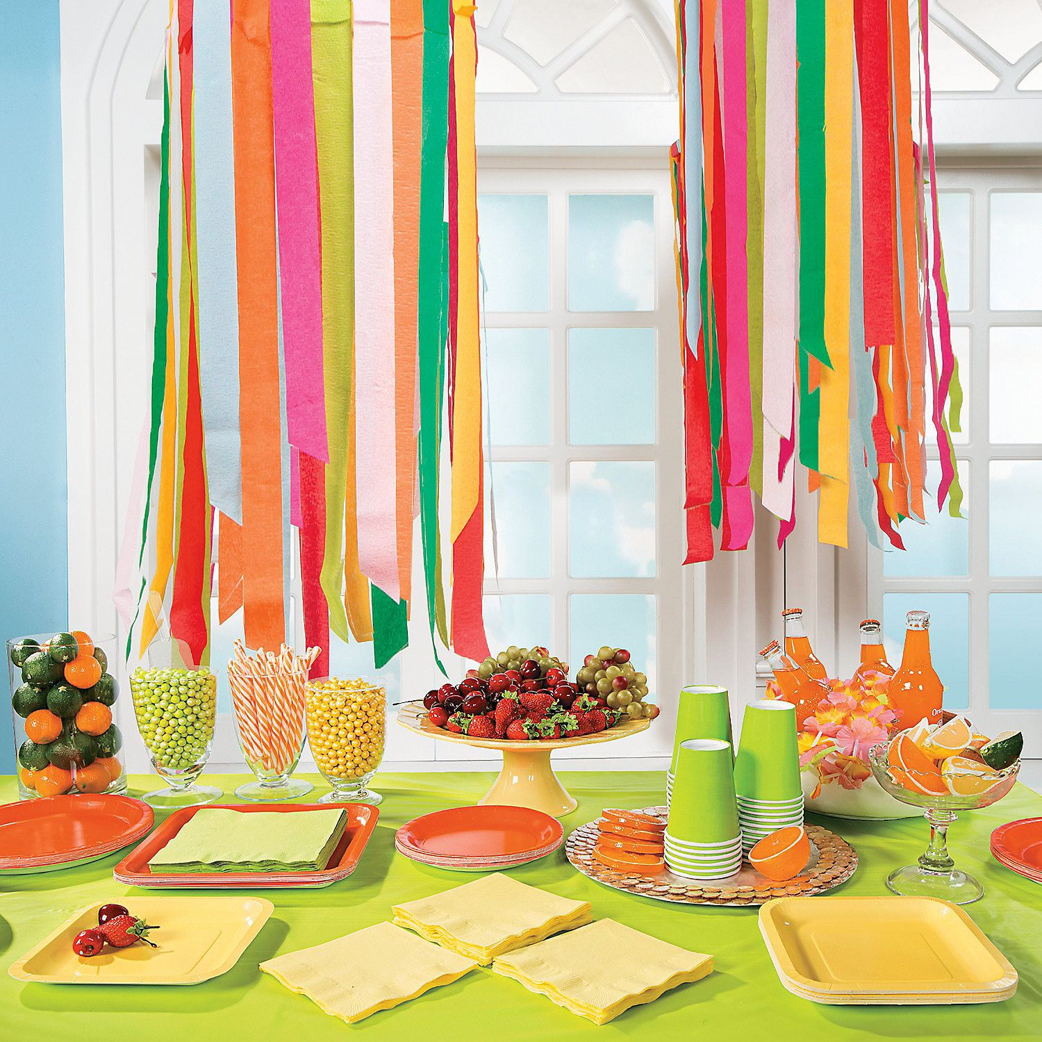 Crepe paper chandelier diy hang an embroidery hoop from celing with string adhere crepe paper - Paper decoration for birthday ...