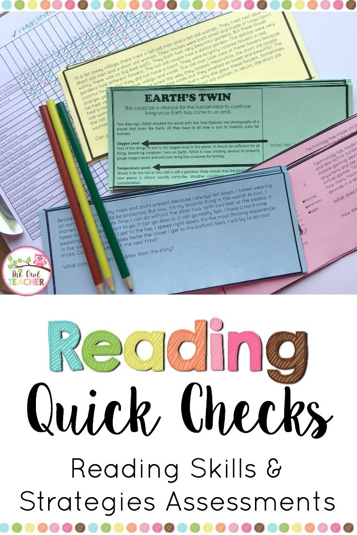Reading Skills and Strategies Quick Check Assessments | Upper