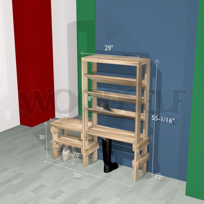 Meuble à chaussures - plan du meuble | Idée maison | Pinterest ...